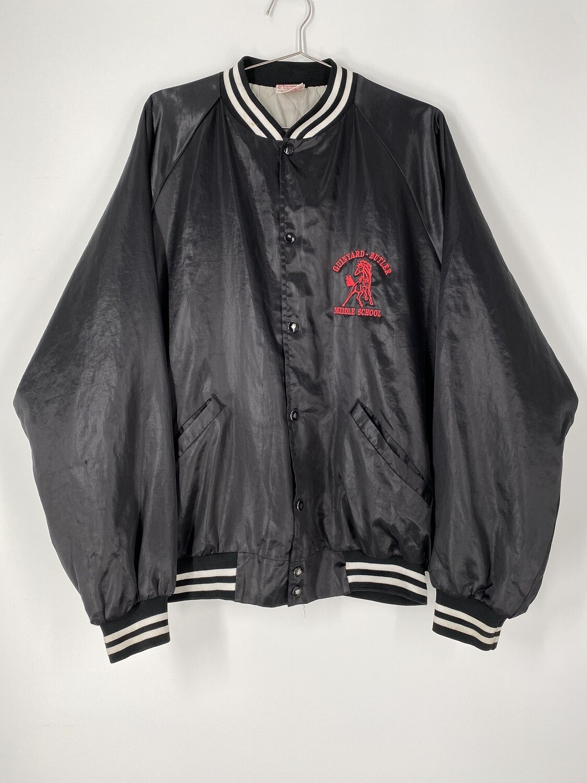 Cardinal Embroidered Black Bomber Jacket Size L