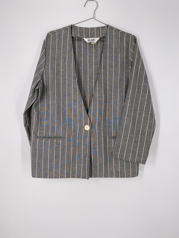Grey Striped Blazer Size M