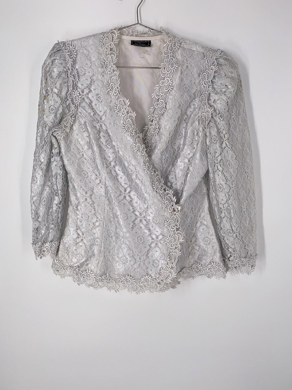 Silver Lace Blazer Size M