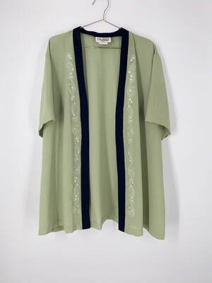 Green Floral Embroidered Top Size M