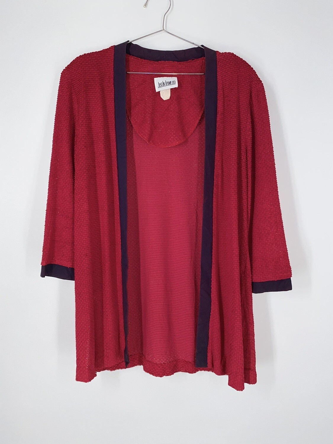 Red Textured Open Front Top Size L