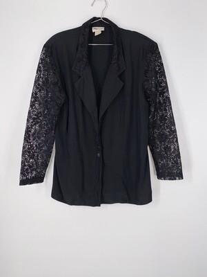 Black Lace Sleeve Top Size L