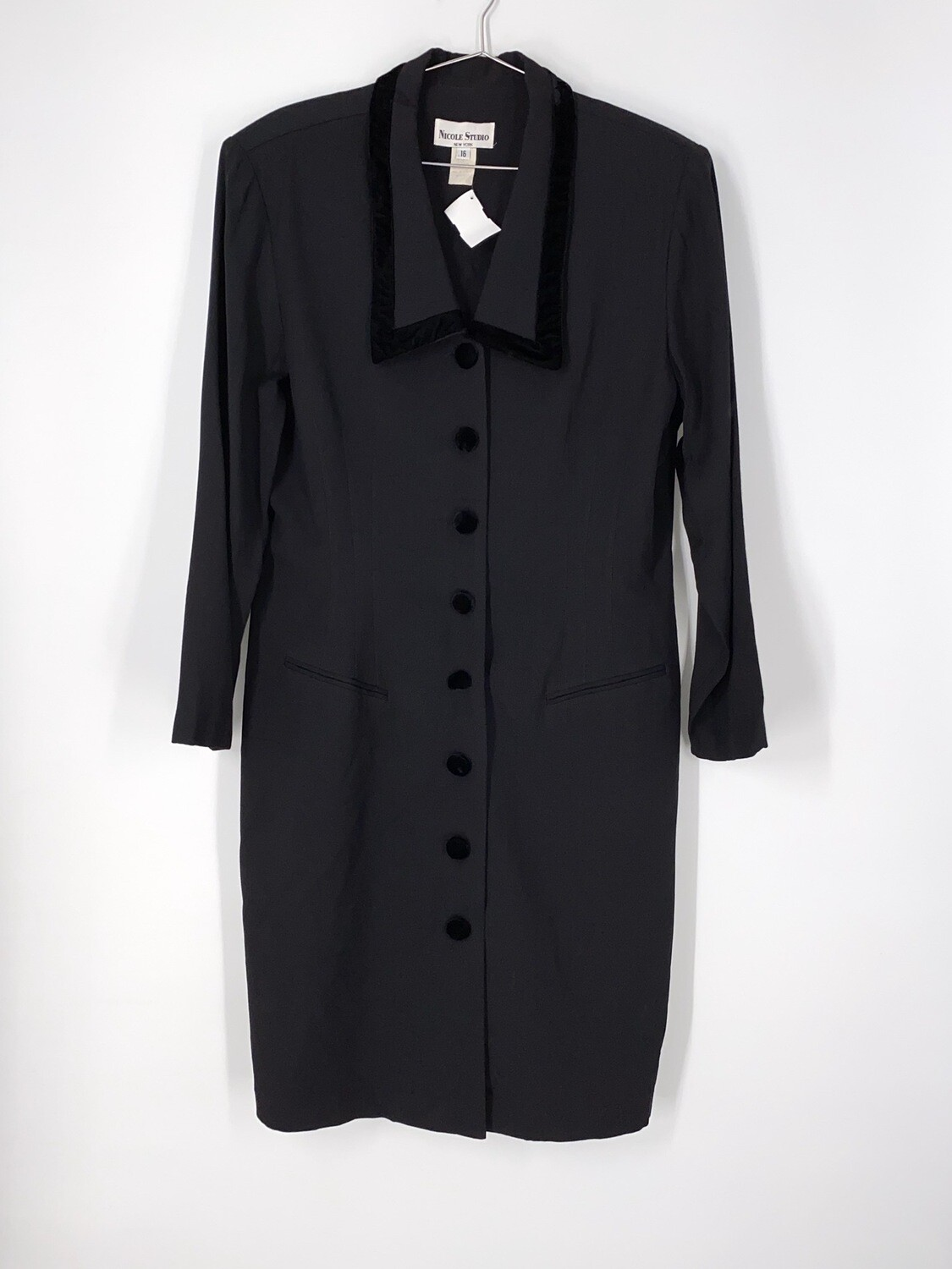 Velvet Detail Black Coat Dress Size L