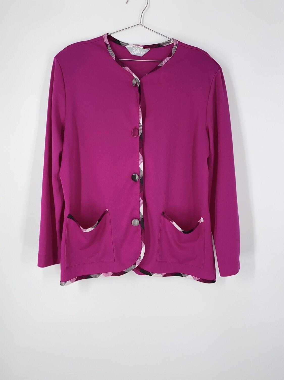 Pink Plaid Trim Cardigan Size M