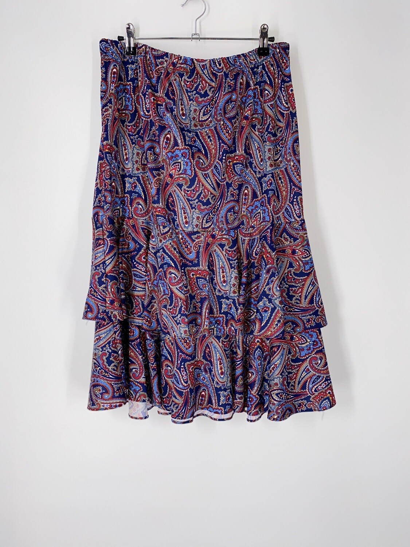 Paisley Print Ruffle Skirt Size M