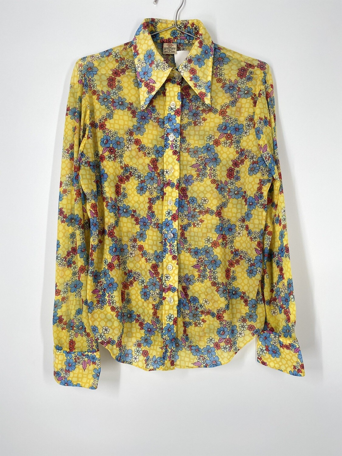 Retro Yellow Floral Button Up Top Size L