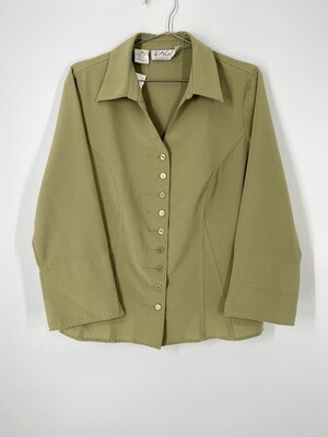 Kathy Che Stretch Olive Green Button Up Blouse Size M