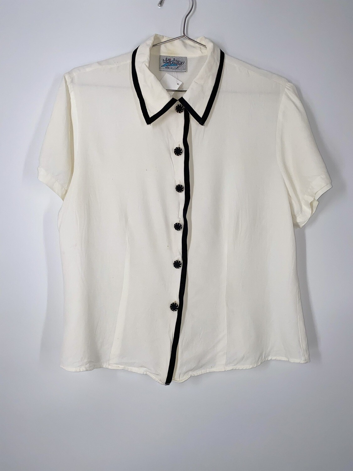 Whiskers White Jewel Button Up Top Size M