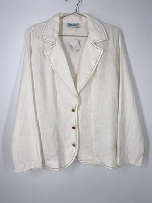 Allure White Linen Blazer Top Size S