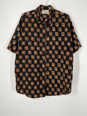 Cotton Zone Abstract Square Print Top Size L