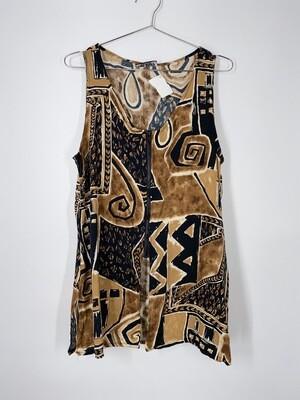 Hot Stuff Abstract Tribal Print Zipper Tank Top Size M