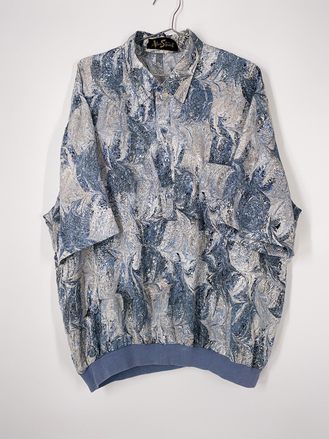 Alan Stuart Blue Abstract Print Top Size L