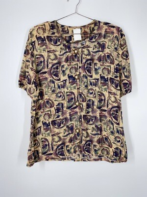 Tan And Purple Abstract Print Top With Pearl Buttons Size S