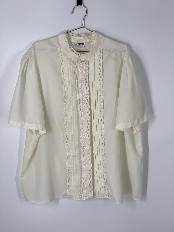 Lauren Lee White Lace Button Up Top Size L