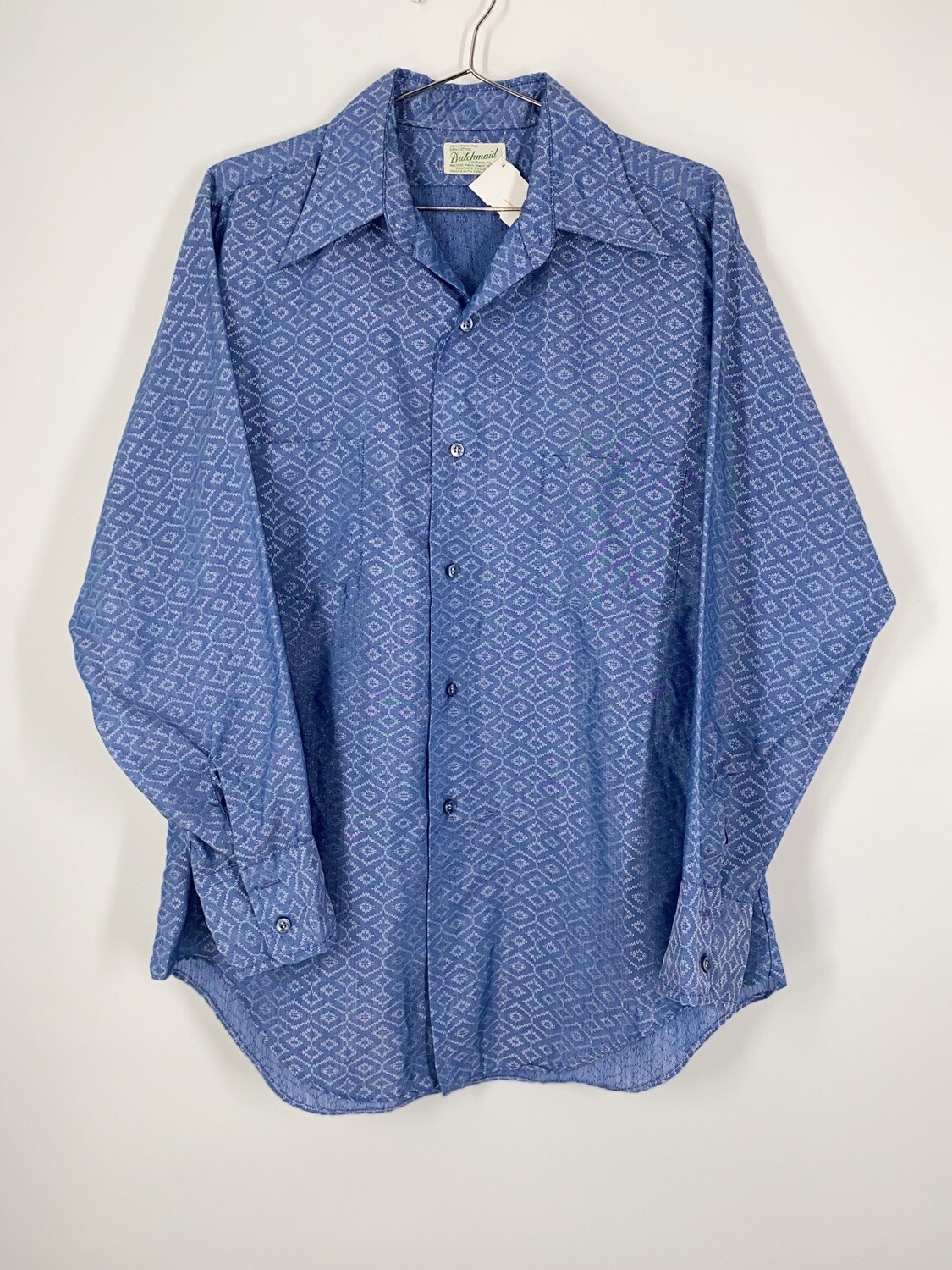 Blue Patterned Button Up Size M