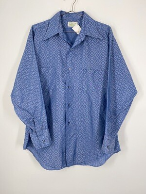 Blue Patterned Button Up Size M