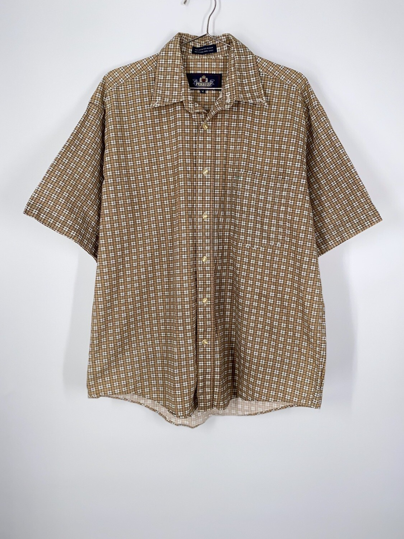 Tan Plaid Button Up Size M