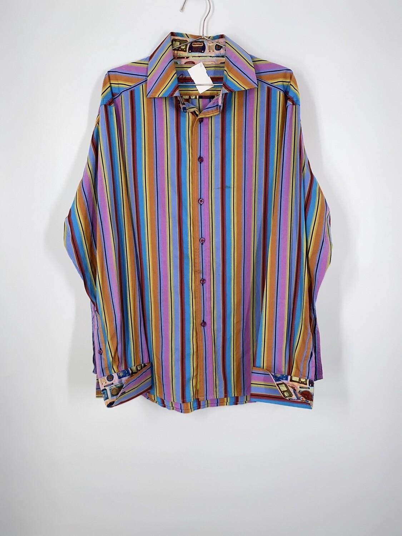 Rainbow Striped Robert Graham Button Up Size L