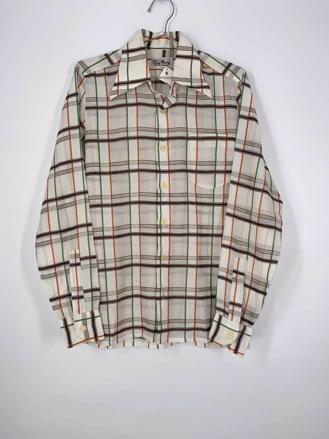 Sheer Plaid Button Up Size S