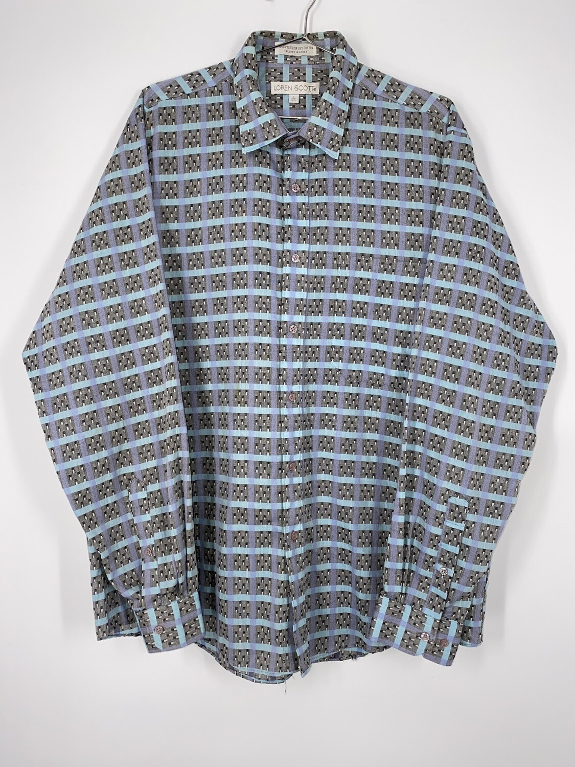 Loren Scott Blue And Grey Abstract Checkered Print Button Up Size L