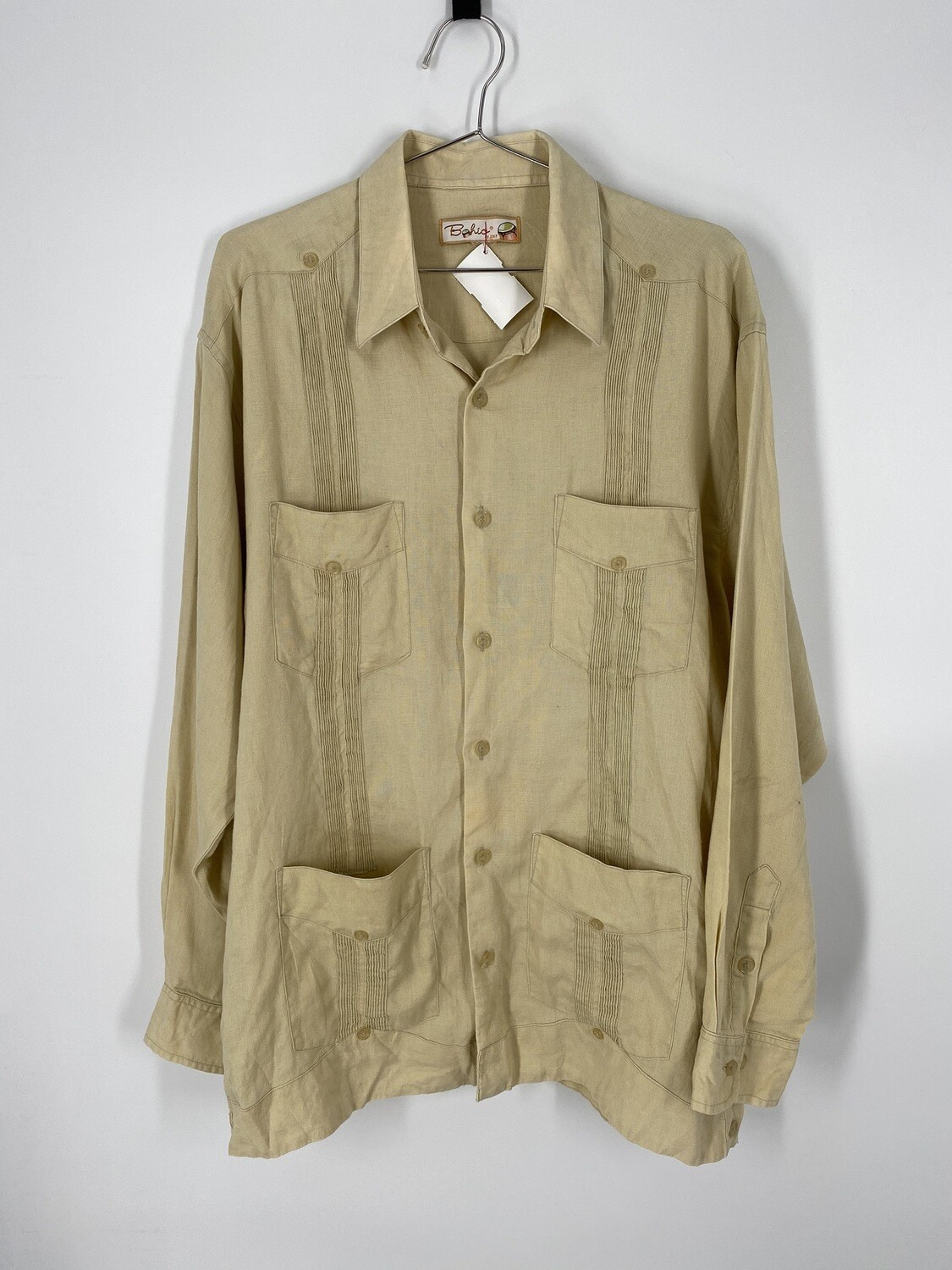 Bohio Beige Linen Button Up Size L