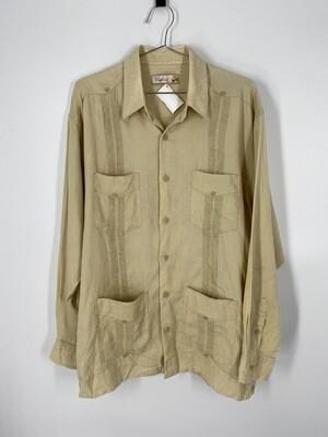 Bohio Beige Linen Button Up Size L