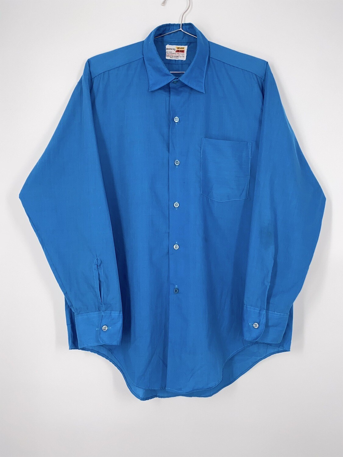 Hadway Blue Permanent Press Button Up Size S