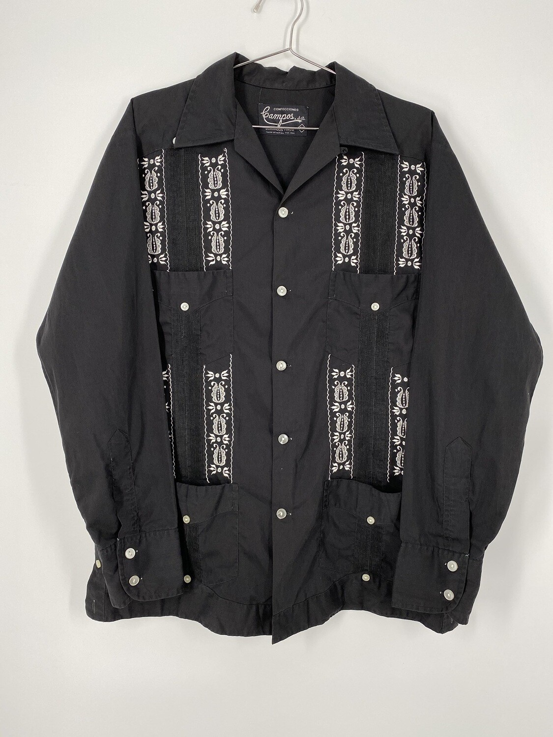 Campos Embroidered Black And White Button Up Size M