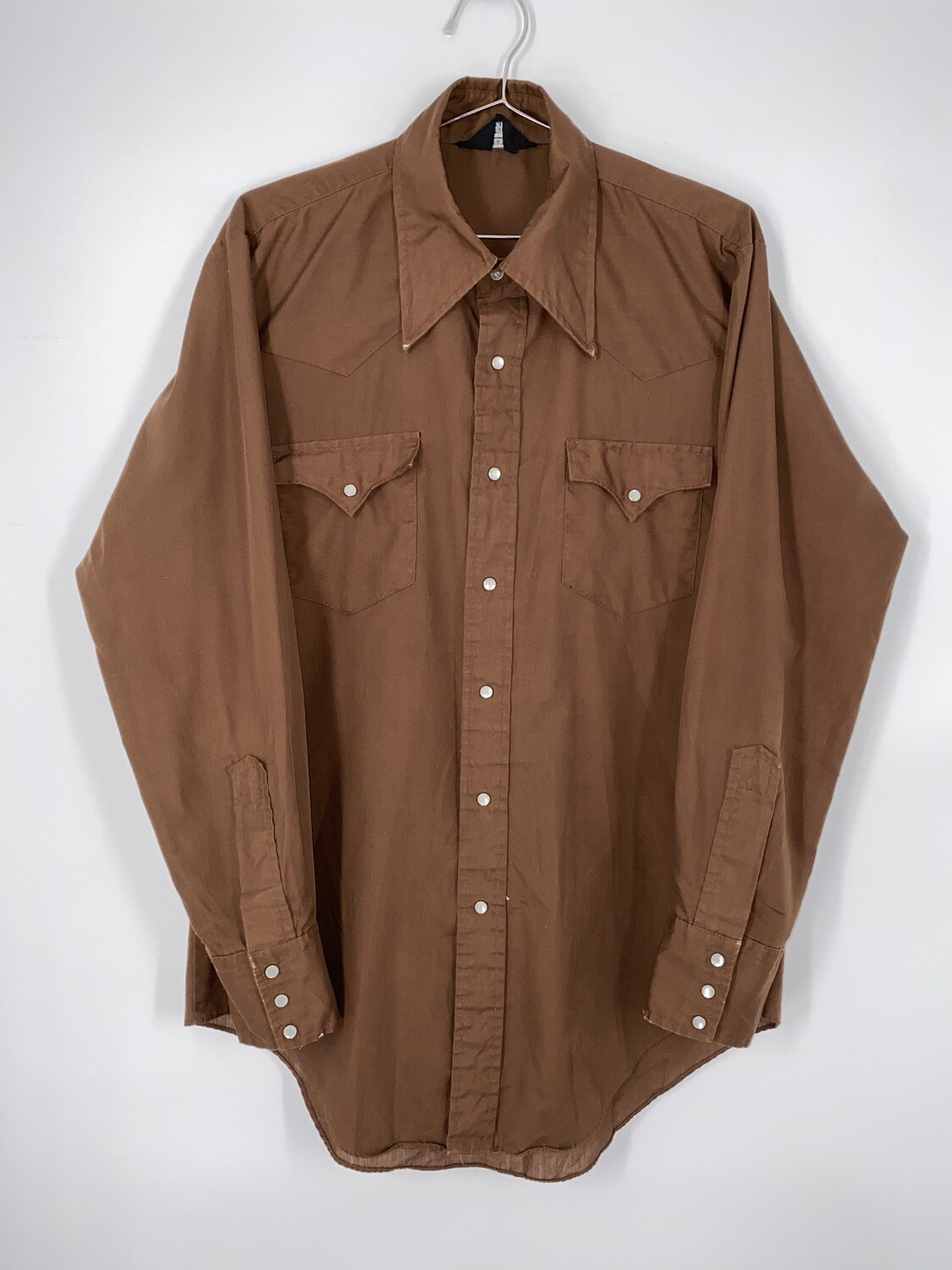 Sears Wester Wear Brown Button Up Size M