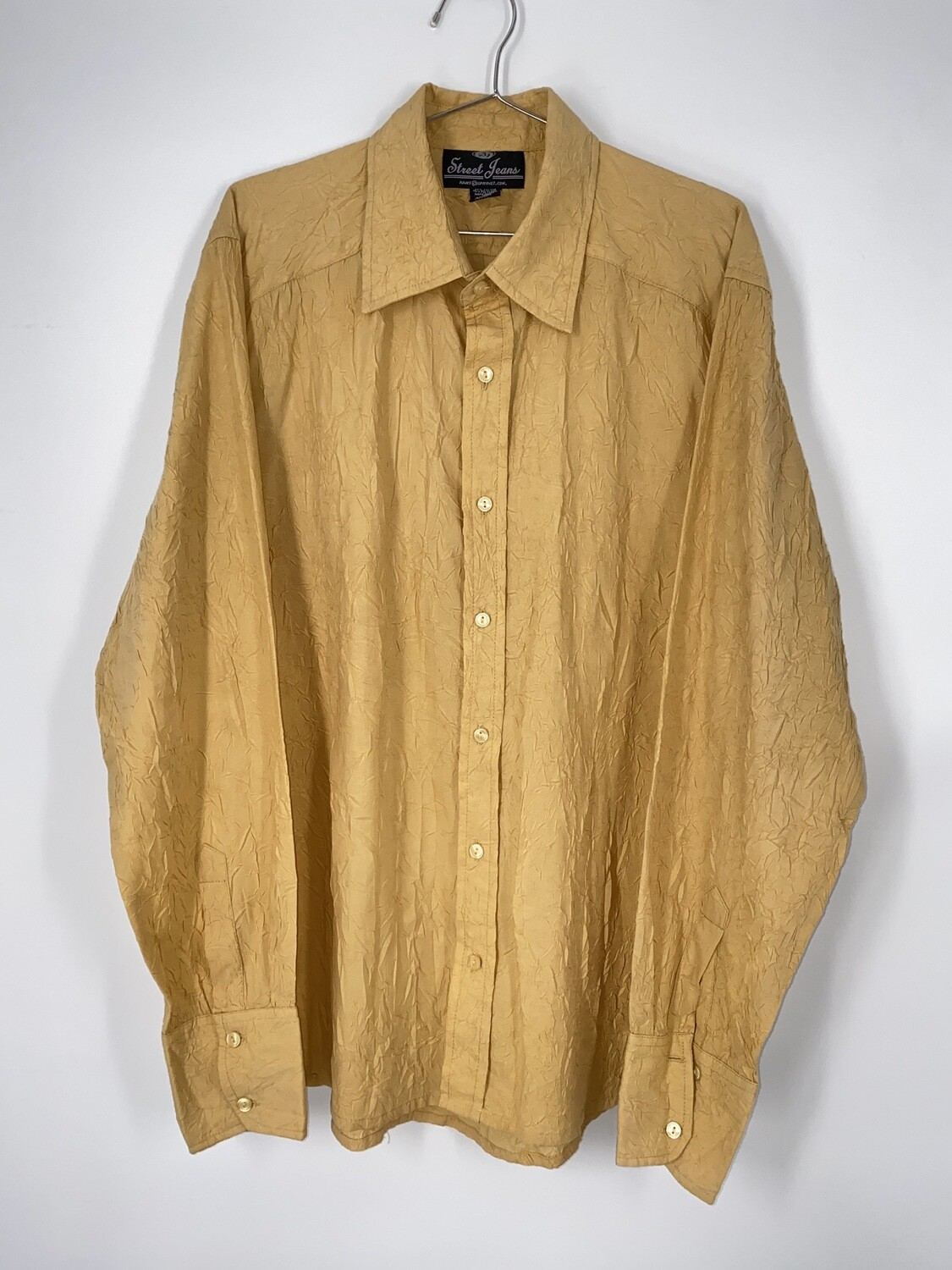 Street Jeans Yellow Crinkle Button Up Size L