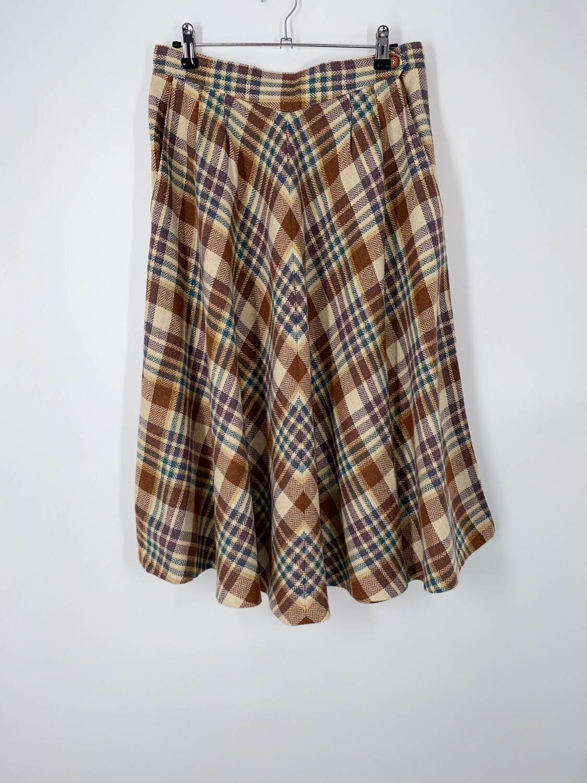 Plaid Longline Circle Skirt Size M