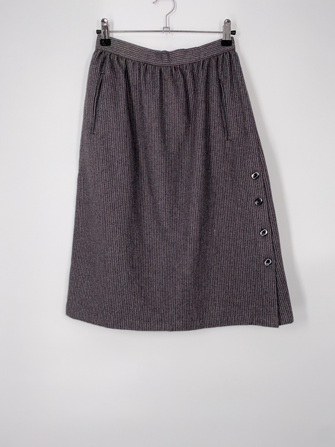 Grey Striped Wool Skirt Size S
