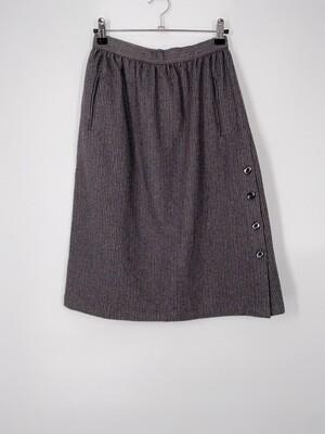Grey Striped Wool Skirt Size S