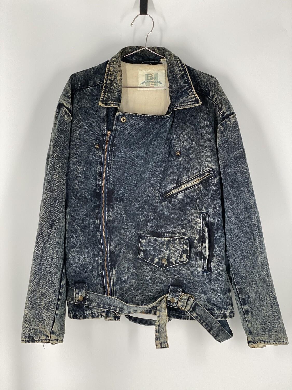 Blue Zone Zipper Acid Wash Denim Jacket Size L