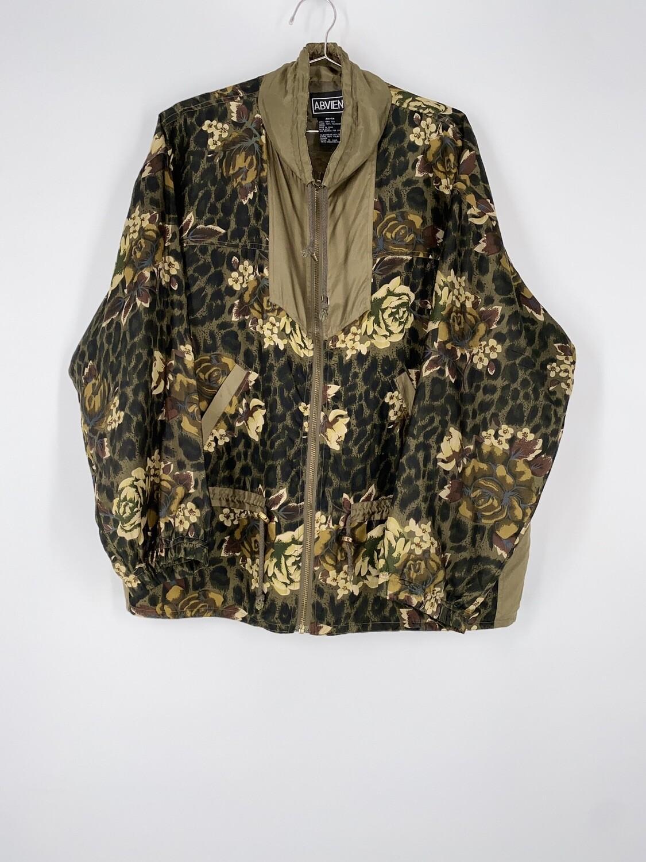 Floral Patterned Silk Jacket Size L