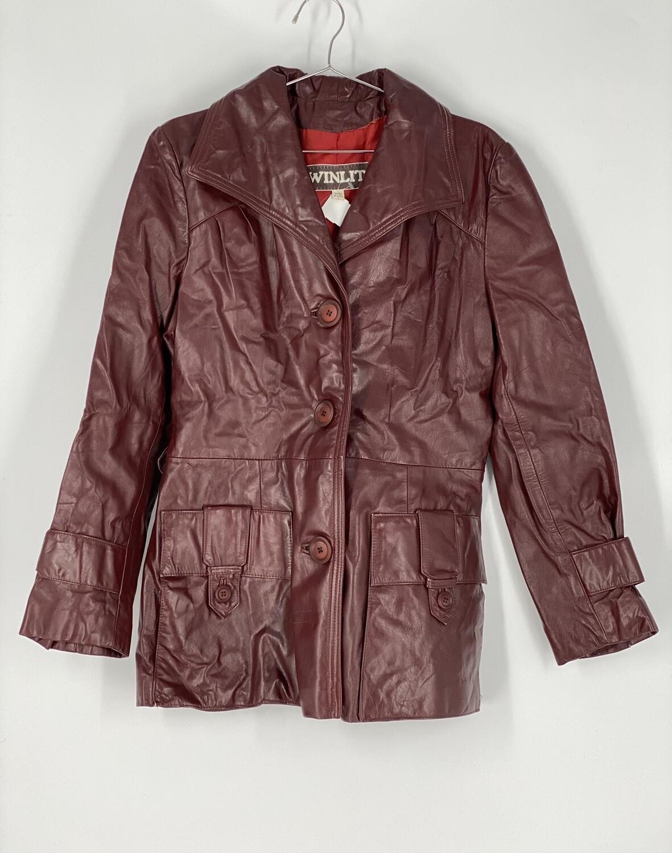 Winlit Maroon Leather Jacket Size L