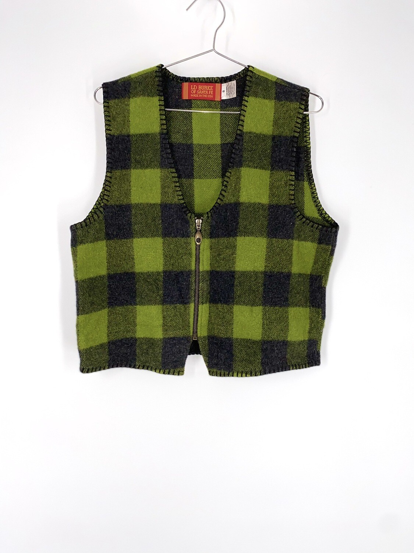 Green Plaid Sweater Vest Size S