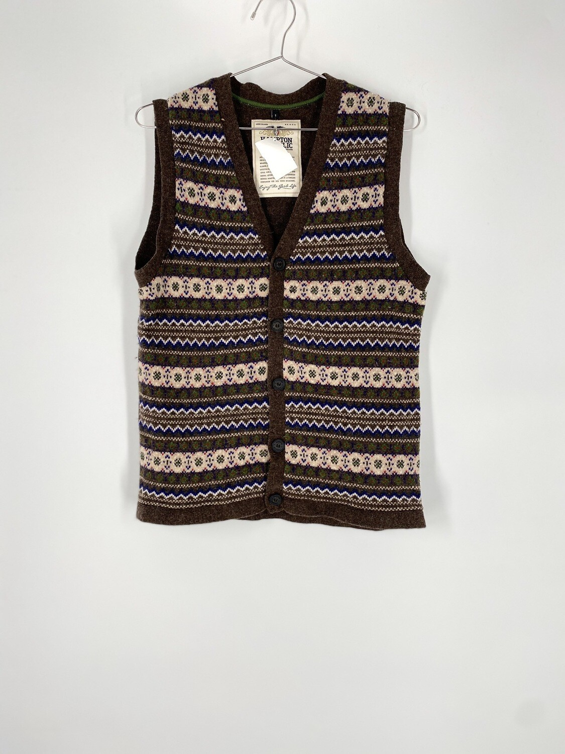 Printed Wool Sweater Vest Size S