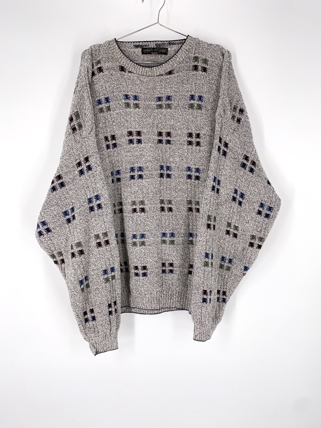 Grey Square Pattern Sweater Size L