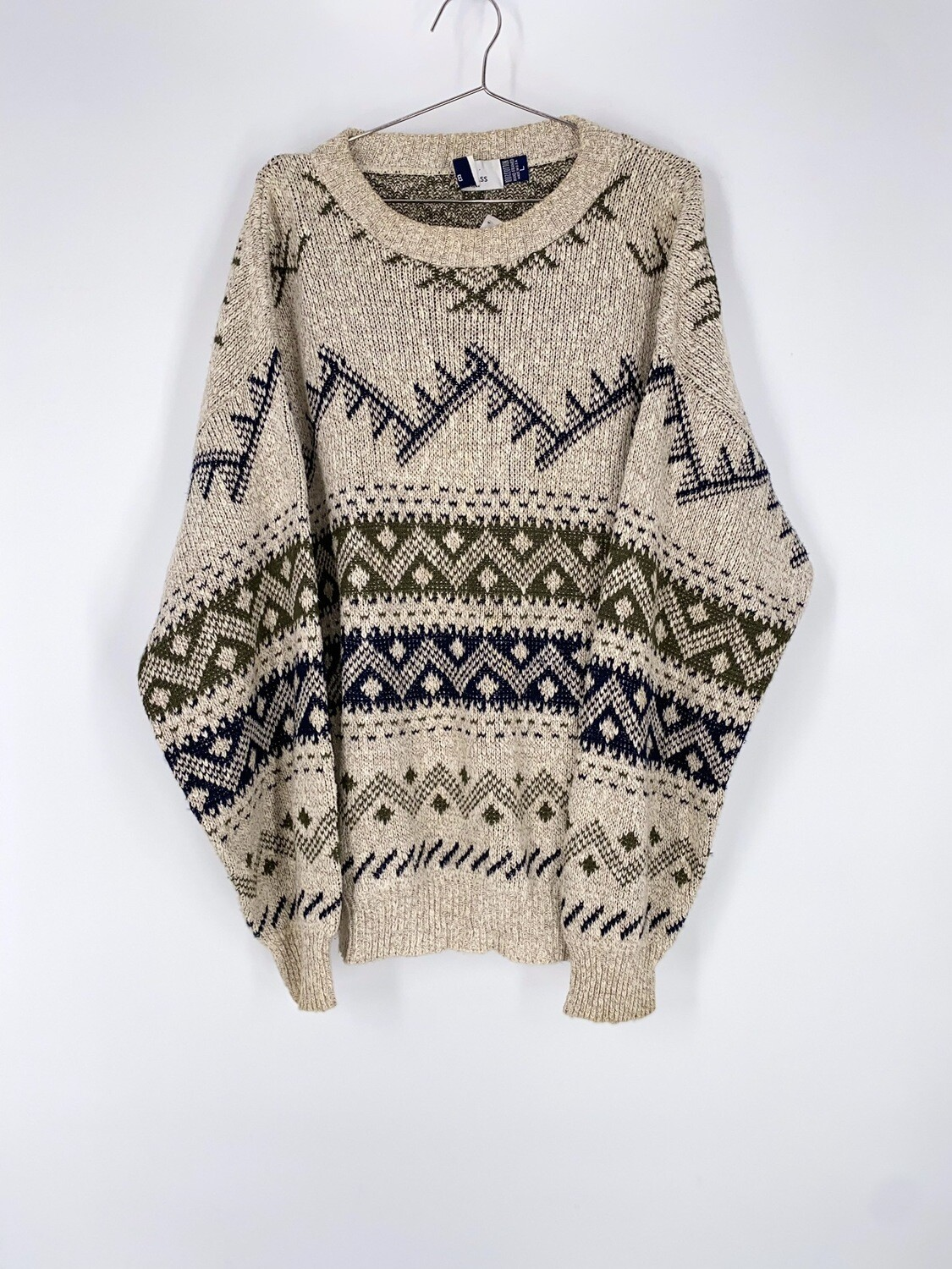 Patterned Cream Sweater Size L