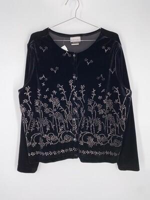 Fashion Bug Petition Black Velvet And Glitter Top Size L