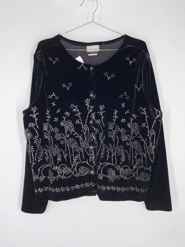 Fashion Bug Petition Black Velvet And Glitter Top Size L