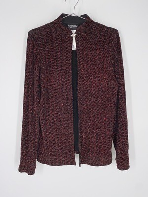 ONYX Nite Red And Black Glitter Top Size M