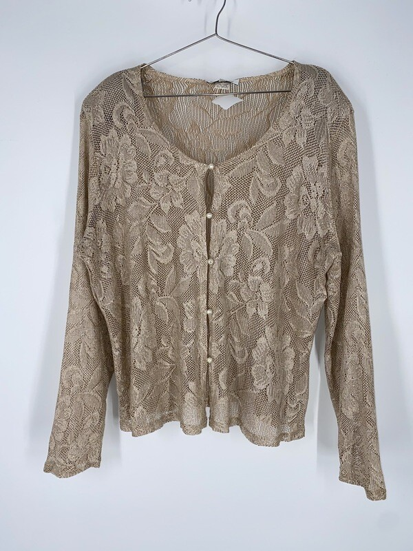 Harlow Nites Gold And Cream Knit Button Up Top Size L