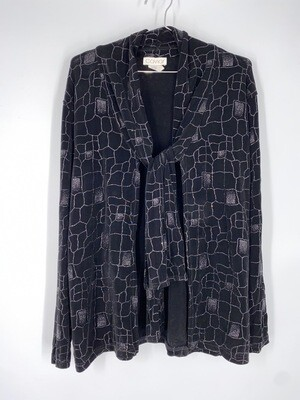 Caviar Black Glitter Tie Collar Top Size L