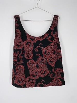 Alex Evenings Sleeveless Red and Black Glitter Top Size L