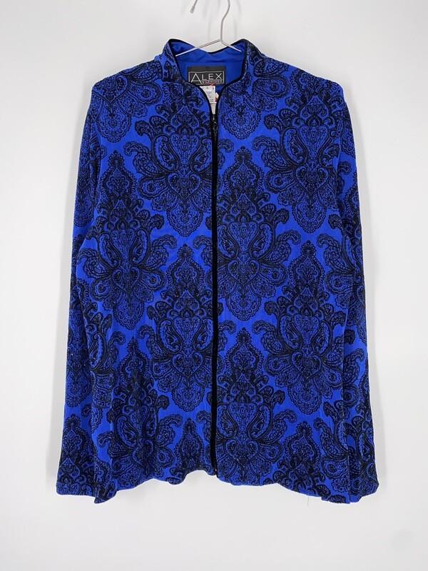 Alex Evenings Blue And Black Velvet Zip Up Top Size L