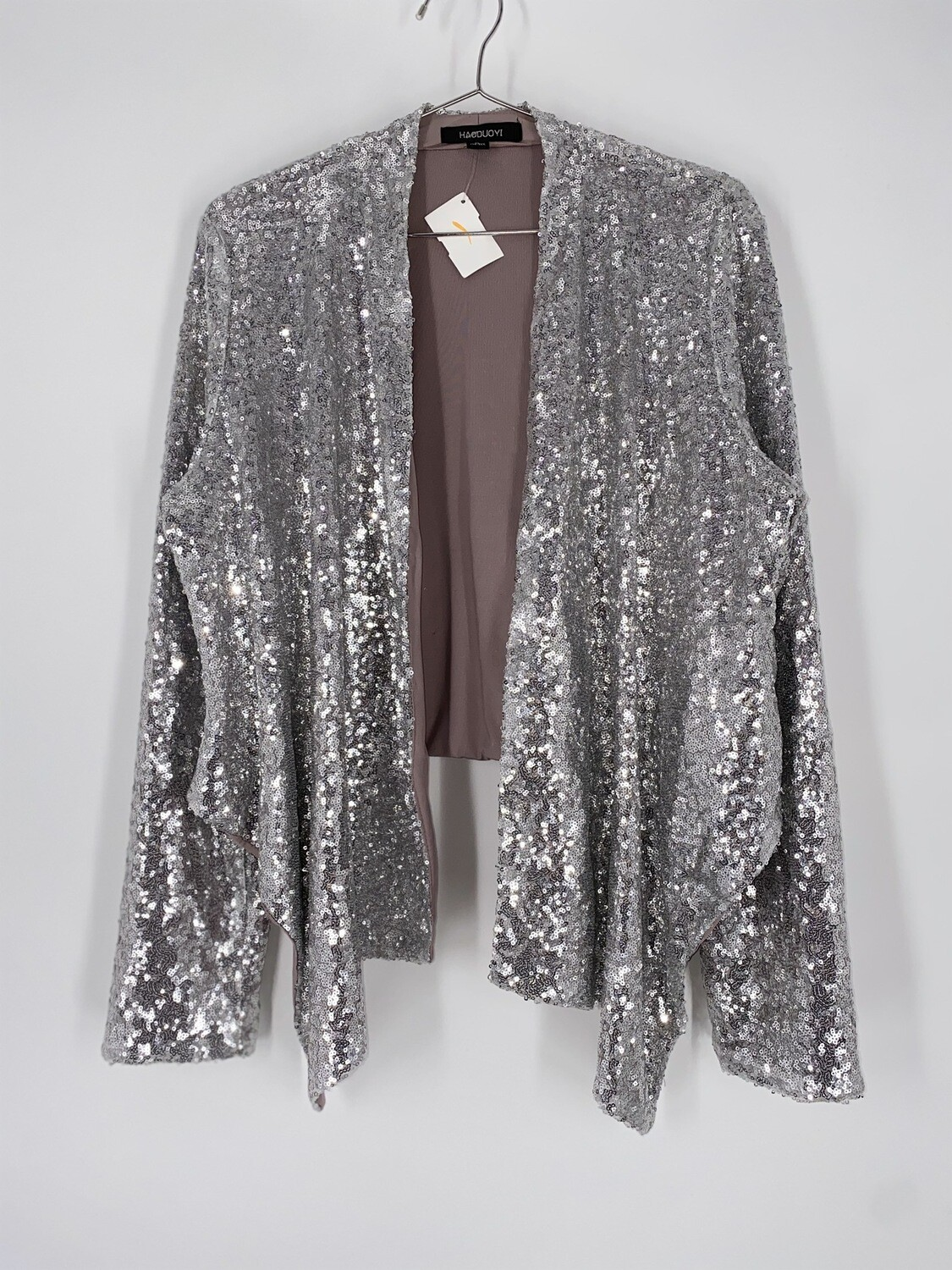 HAODUOYI Silver Sequins Long Sleeve Top Size L