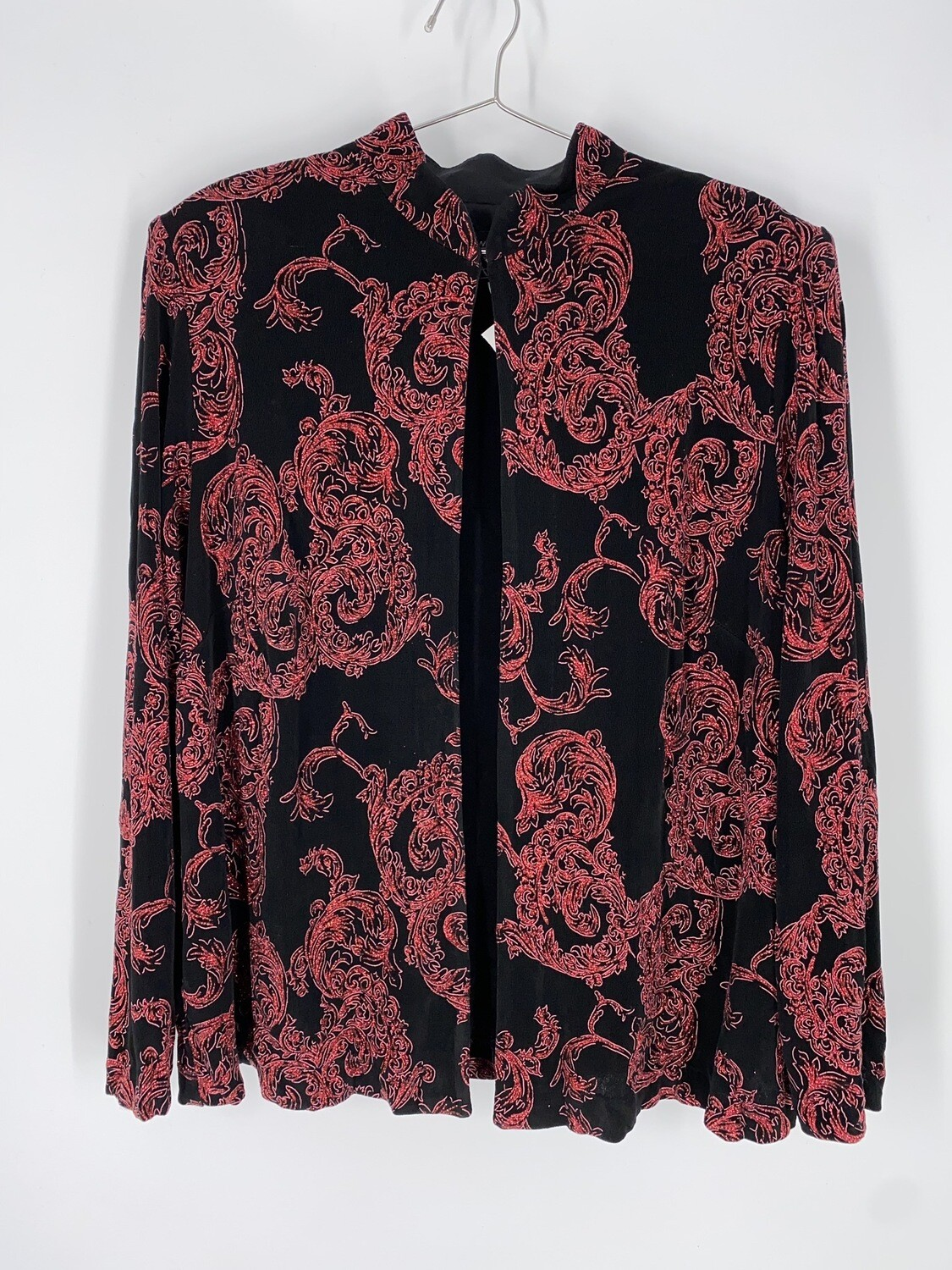 Alex Evenings Black And Red Glitter Long Sleeve Top Size L