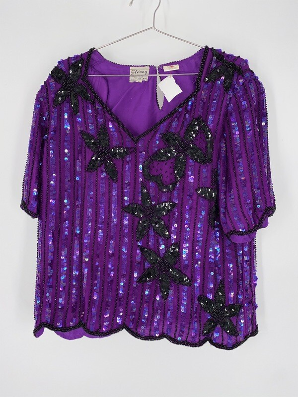 Stenay Purple Bead And Sequins Short Sleeve Top Size L